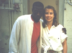 Dawn English with Wesley Snipes during production for the movie 'Drop Zone'