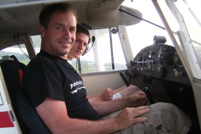 Passionate pilot: Here with son Vincent